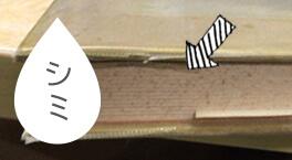 断面にシミがある本
