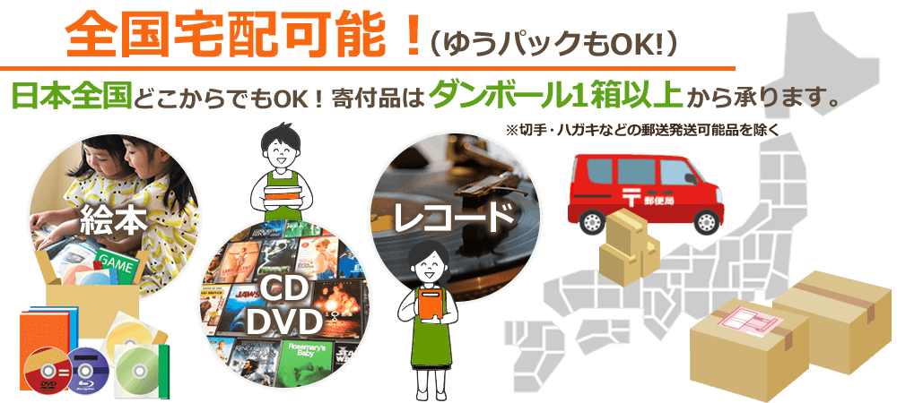 全国宅配可能(ゆうパックもOK!)日本全国どこからでもOK!寄付品はダンボール1箱以上から承ります。(切手・ハガキなどの郵送発送可能品を除く)絵本、CD・DVD、レコード。